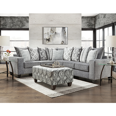 Affordable Stonewash Charcoal 2-Piece Sectional