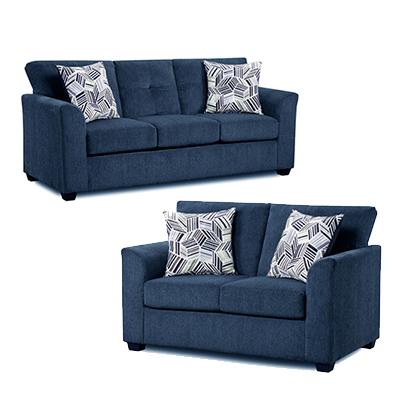American Imports Kennedy Navy Sofa & Loveseat