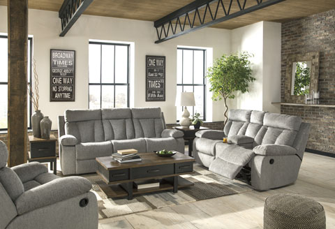 Rent Signature Design Mitchiner Fog Reclining Sofa And Recliner | Living  Room Furniture Rental | RENT 2 OWN