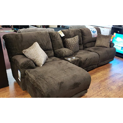Catnapper Burbank Chocolate Reclining Sectional with Console
