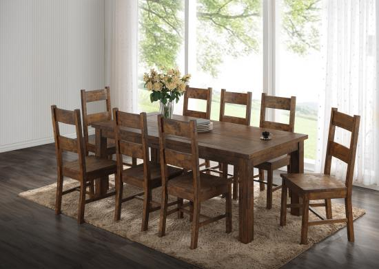 Coaster Rustic Wood 6 Chair Dinette