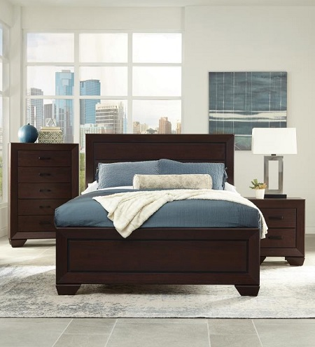 Wolfeman Dark Cocoa Wood Queen bedroom