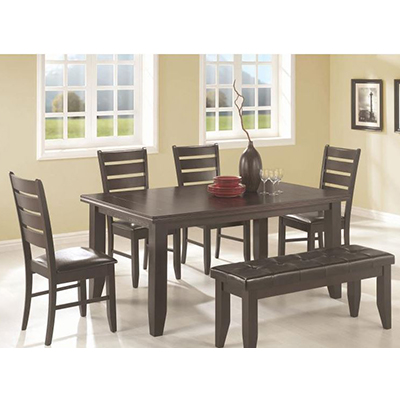 Coaster Cappuccino Dining Table w/ 4 Chairs