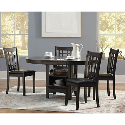 Coaster Lavon Dark Brown Table & Padded Chairs