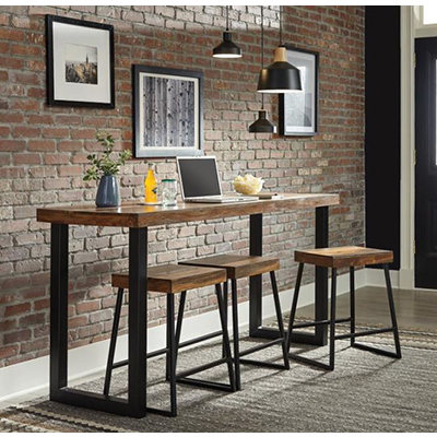 Mindo Warm Chestnut CtrHt Table & 3 Chairs