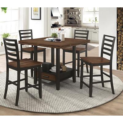 4 Chair Black & Brown Pub Set