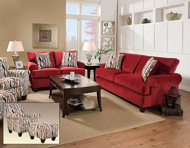 Rent American Wholesale Furniture 47b Jackpot Red Living Room