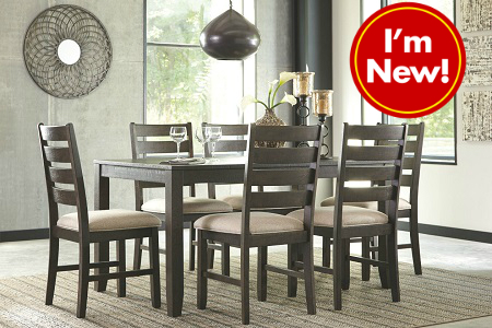 rent signature design rokane brown 6 chair dining set dining room rh r2o com 6 chair glass dining table set 6 chair dining set sale