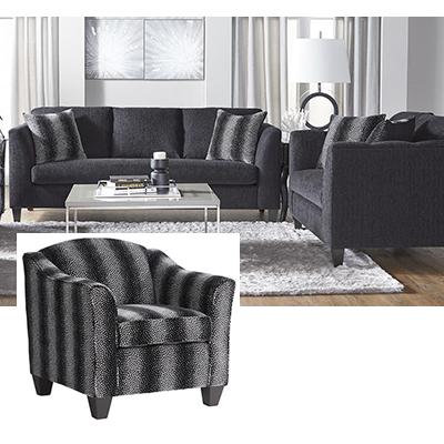Hughes Submonarca Ebony Sofa, Loveseat &Accent Chair