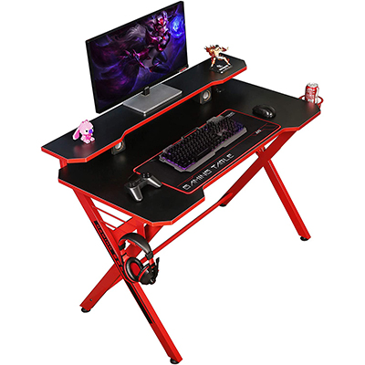 """48"""" Home Office Gaming Computer Desk, Red"""