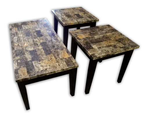American Wholesale Furniture Breccia Faux Marble Occasional Table Set