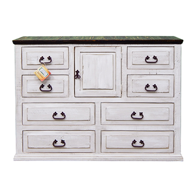 White w/Coffee Top Large Dresser