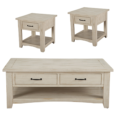 Rustic Antique White Coffee & 2 End Tables