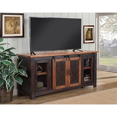 Rustic Santa Fe Black w/ Honey Trim TV Stand
