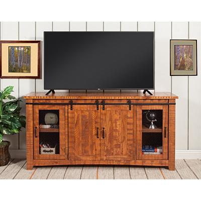 Rustic Honey Tobacco Barn Door TV Stand