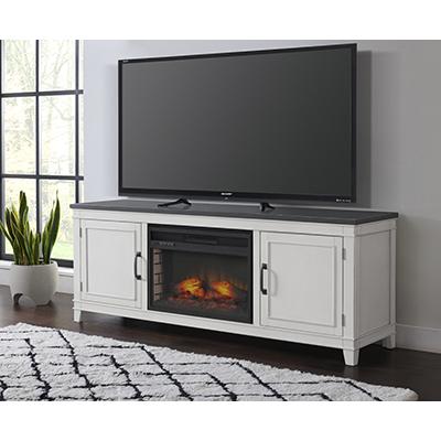 DelMar White & Grey Fireplace TV Stand