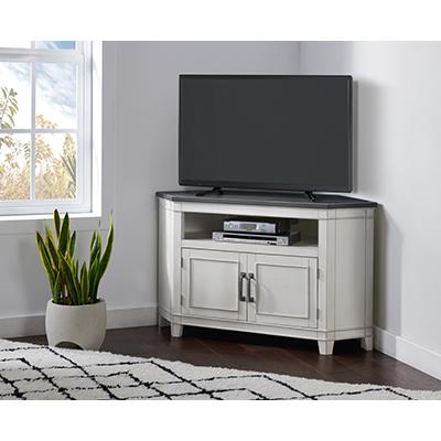 DelMar White & Grey Corner TV Stand