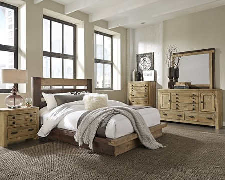 Progressive Trilogy Two Two Queen Bed, Dresser/Mirror and Nightstand