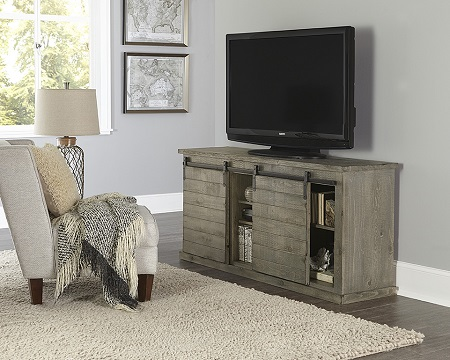 "Progressive Huntington 64"" Barndoor Distressed Grey TV Stand (Holds up to 70"" TV)"