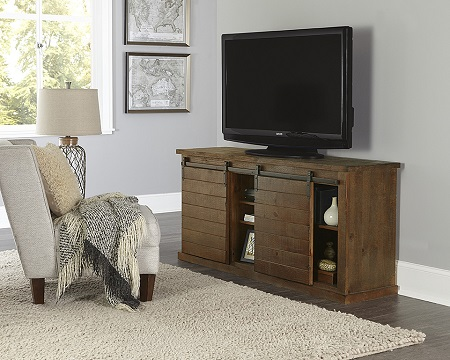 "Progressive Huntington 64"" Barndoor Distressed Pine TV Stand (Holds up to 70"" TV)"