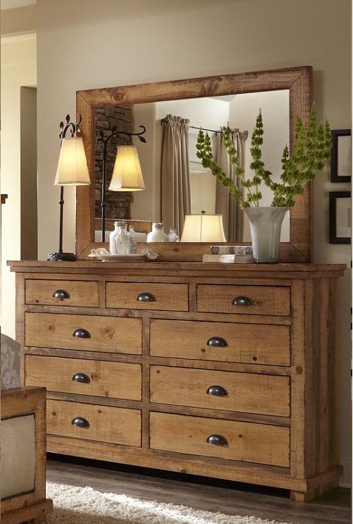 Progressive Furniture Willow Dresser Mirror Distressed Pine