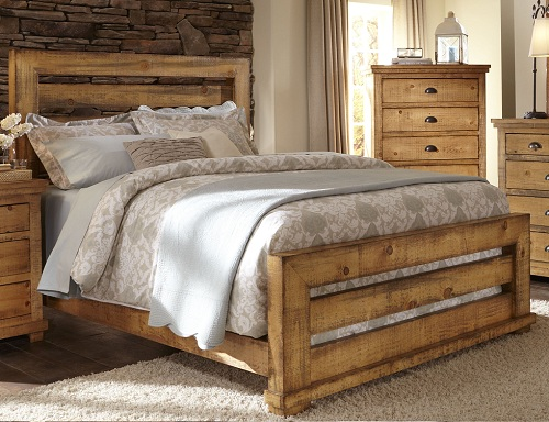 Rent Progressive Furniture Willow Queen Bed - Distressed Pine ...