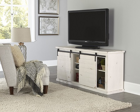 "Progressive Huntington 64"" Barndoor Distressed White TV Stand (Holds up to 70"" TV)"