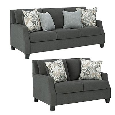 Signature Design Bayonne Charcoal Sofa & Loveseat