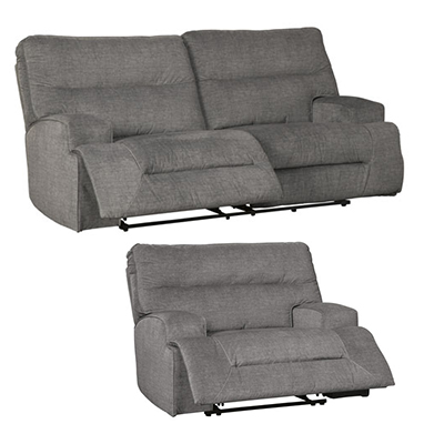 Coombs Charcoal 2-Seat Reclining Sofa & Wide Recliner