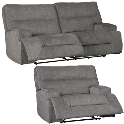 Signature Design Coombs Charcoal Reclining Sofa & Wide Recliner