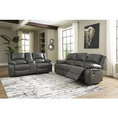 Signature Design Calderwell Gray Reclining Sofa & Loveseat