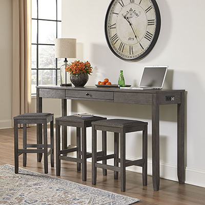 Caitbrook Gray Counter Table & 3 Stools
