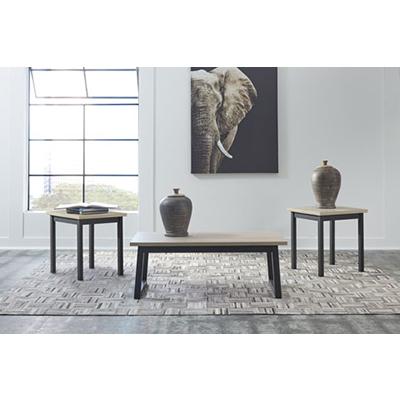 Signature Design Waylowe Natural/Black 3-Pk Tables