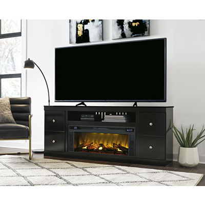 Signature Design Shay Black 72in TV Stand Fireplace