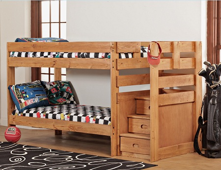 Simply Bunk Beds Twin/Twin Stair Bunk Bed with 2 Bunkie Mattresses-Chocolate