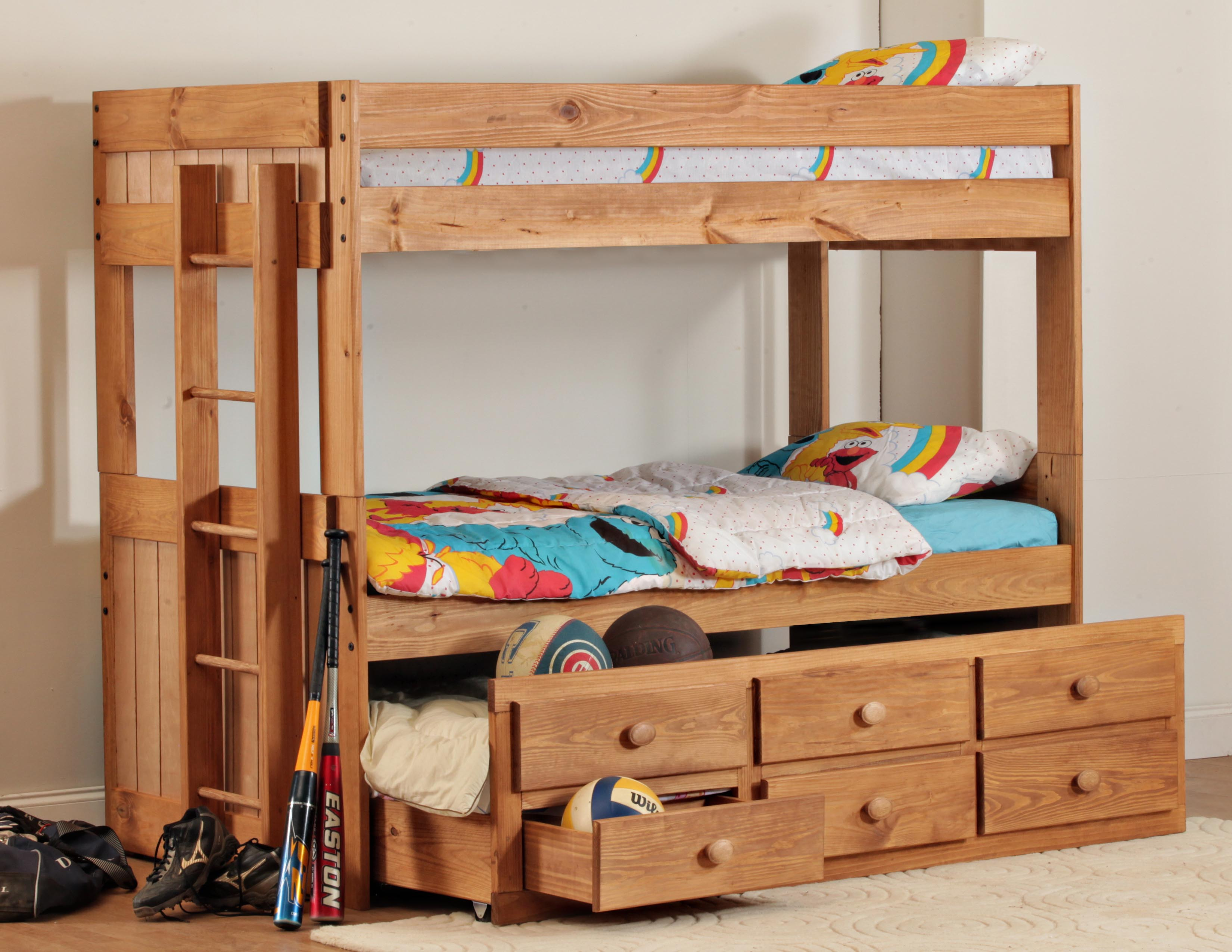 Twin over twin bunkbeds with trundle and 3 drawers in light pine by