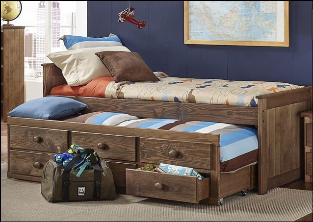 Twin Chestnut Captains Bed
