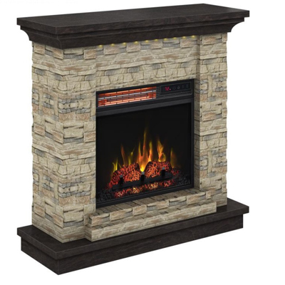 Stone Fireplace with Infrared Heater