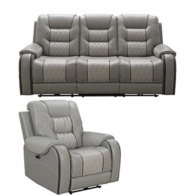 Vogue Badlands Silver Motion Sofa & Power Recliner