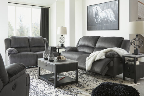 Clonmel Charcoal Reclining Sofa and Wide Seat Recliner