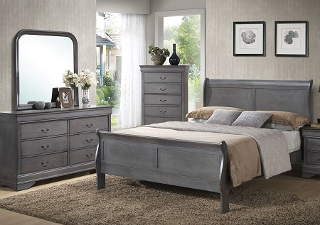 Rent American Wholesale Furniture Grey Louis Phillipe Full Bed