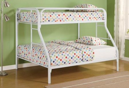 Coaster Twin over Full White Metal Bunkbed