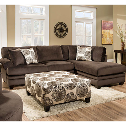 Rent American Wholesale Furniture 8642 Sectional Only   Groovy Chocolate | Living  Room Furniture Rental | RENT 2 OWN