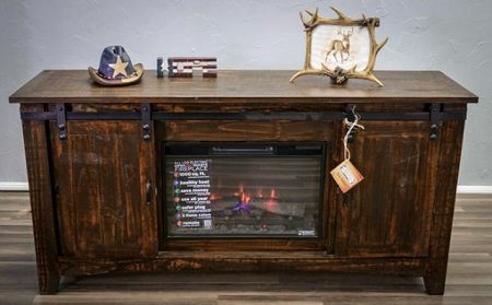 "Million Dollar Rustic Coffee Bean 70""  Fireplace TV Stand"