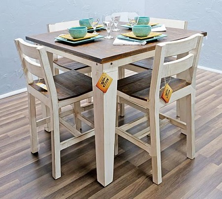 Million Dollar Rustic Weathered White with Coffee Top Pub Table and 4 Chairs