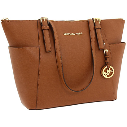 MK Michael Kors Jet Set Saffiano Leather Tote - Luggage
