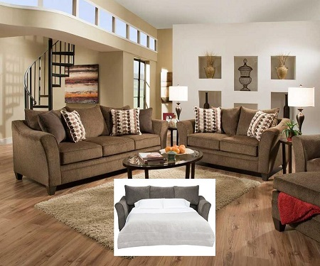 Simmons Albany Truffle Queen  Sleeper Sofa
