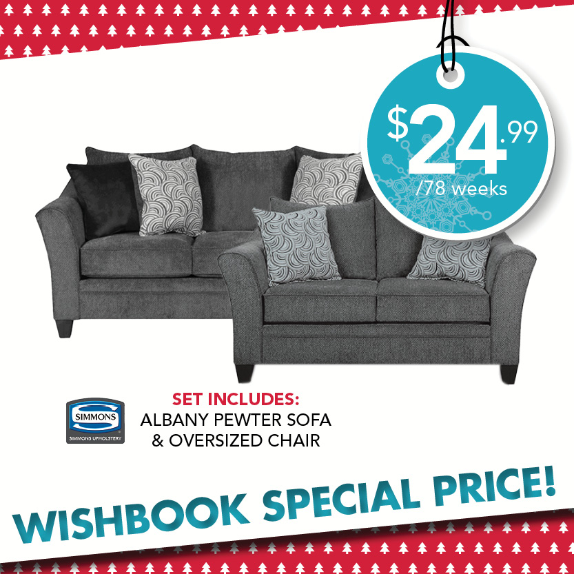 Albany Pewter Sofa and Loveseat. Living Room Rental   Rent To Own Furniture   RENT 2 OWN